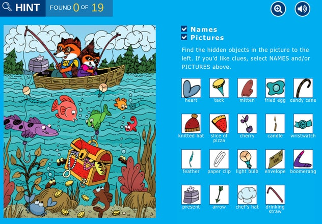 "Screenshot of ""hidden pictures"" fishing game from Highlights Kids website"
