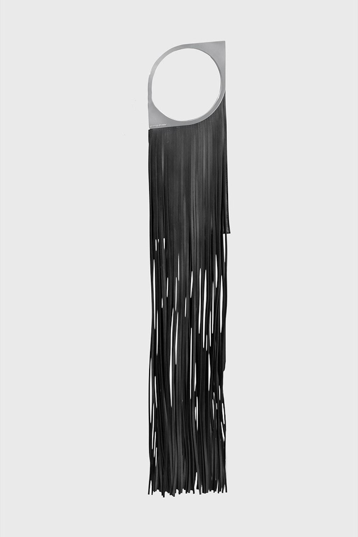 Small leather fringe bag in black