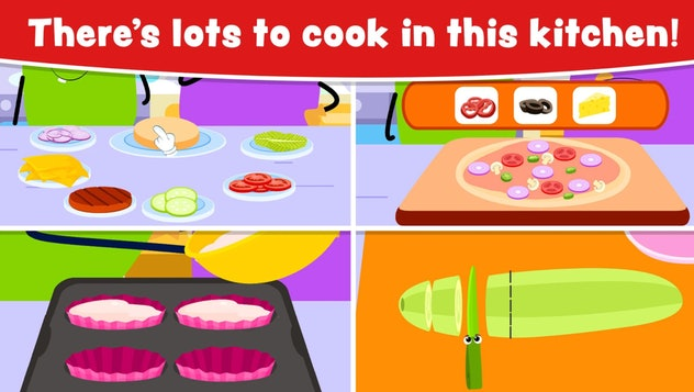 Promo image for 'Cooking Games for Kids and Toddlers' with a four-square grid showing different food...