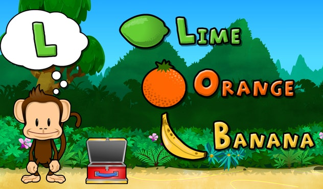 Screenshot of alphabet game in monkey preschool lunchbox