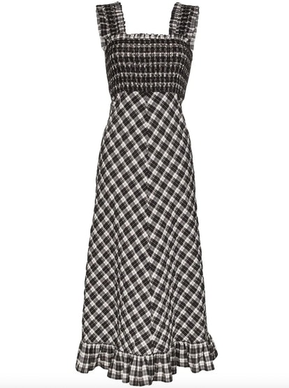 Check Printed Ruched Dress