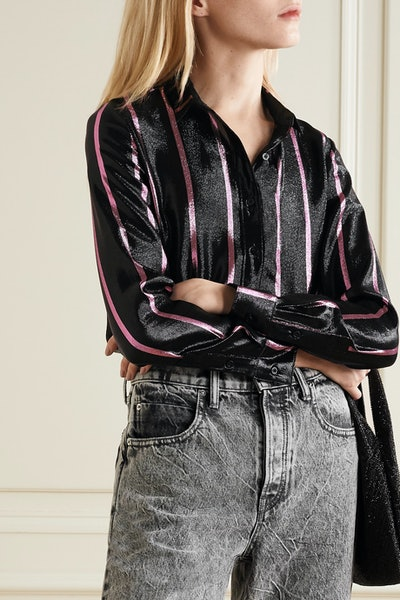 Black Blythe Striped Metallic Shirt