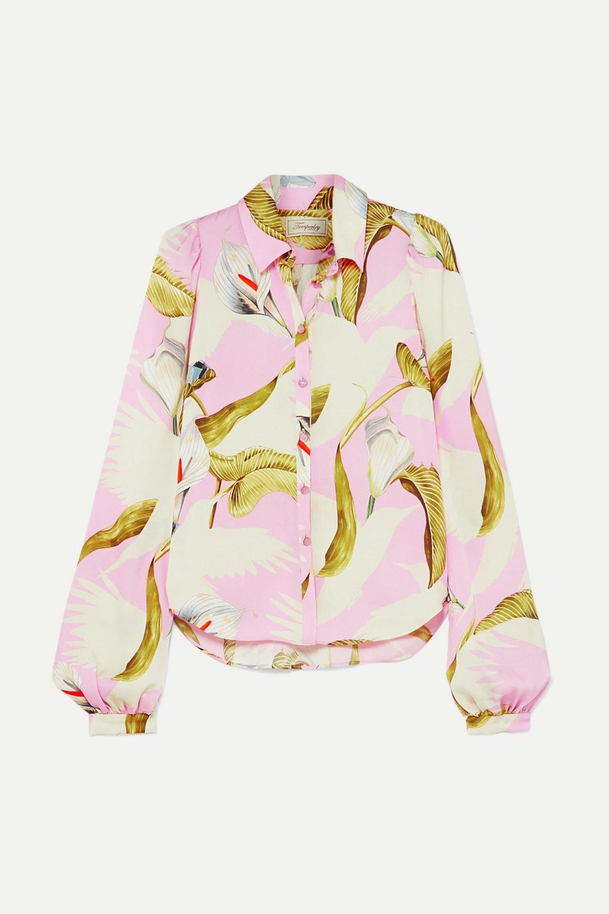 Baby Pink Theodora Printed Shirt