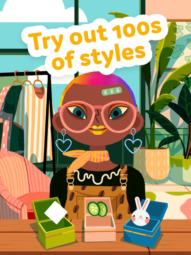 Promo image for Toca Hair Salon 4 with a character dressed in various accessories
