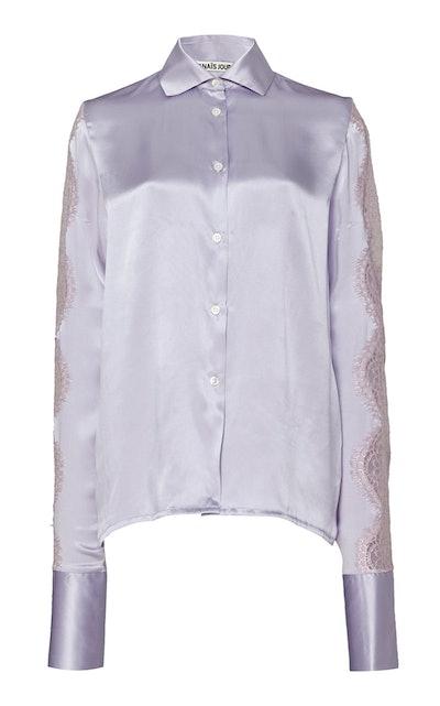 Lace-Trim Silk Satin Shirt