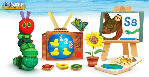 Screenshot of promotional Hungry Caterpillar Play School app featuring several toys, letters, number...