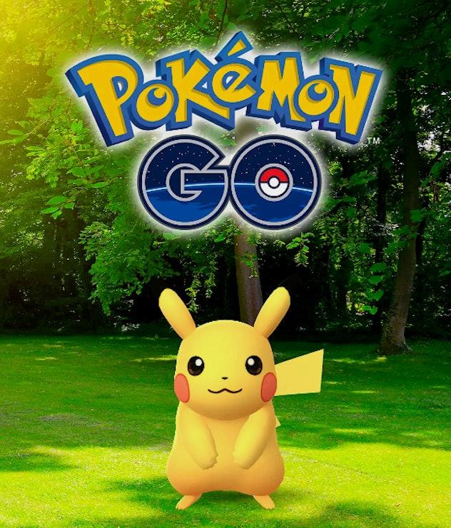 Photo of Pokemon Go logo with a pikachu below it