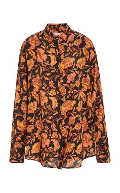 Oversized Silk Button Down Shirt