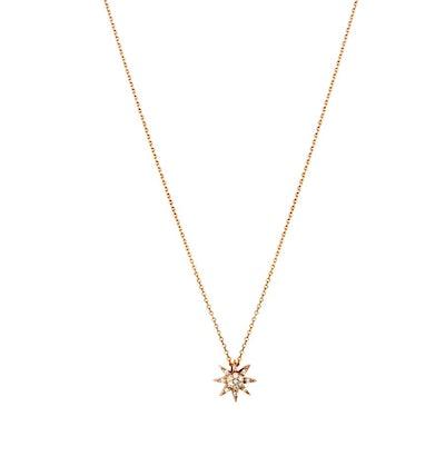 Mini Pave Diamond Sun Necklace