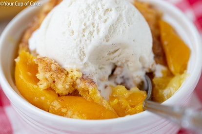 This peach dump cake is simple to bake when you're out of milk.