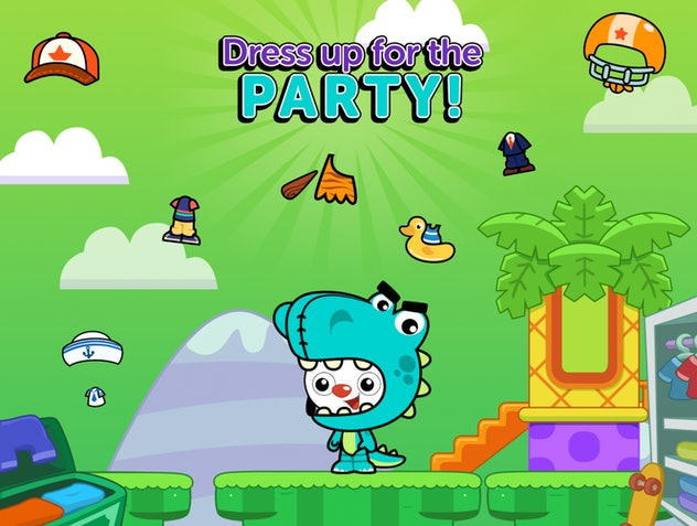 Promo image for PlayKids Party app featuring a character dressed in a dinosaur costume
