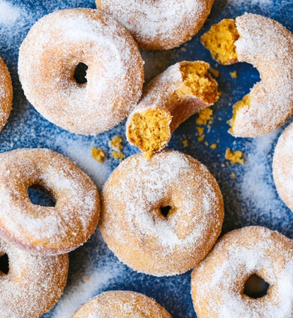 Pumpkin cake doughnuts are great to bake when you're out of milk.
