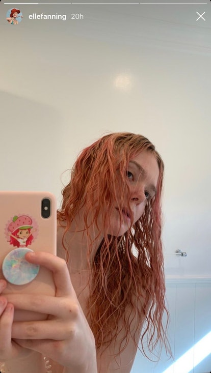 Fanning shared her new pink hair on her Instagram stories.