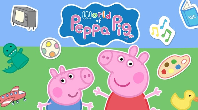 Promo Image for 'World of Peppa Pig' app featuring Peppa, George, and toys around them