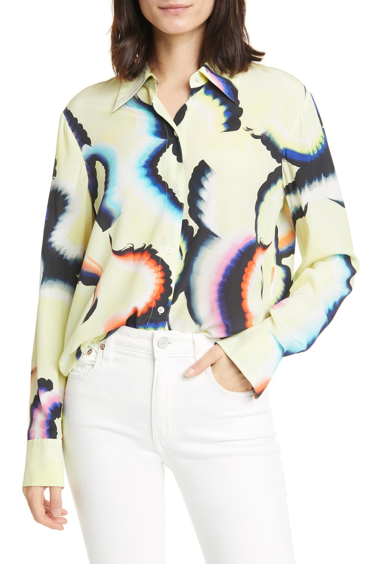 Jayne High/Low Stretch Silk Shirt