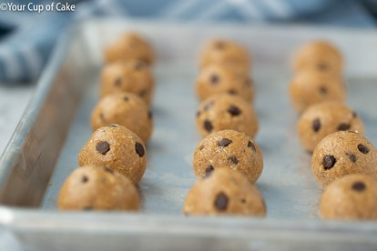 These peanut butter cookie dough protein bites are great to bake when you don't have milk.