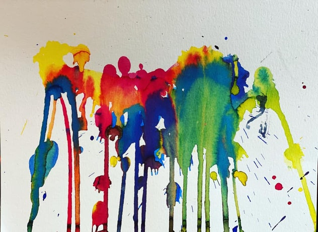 A child's abstract painting of connected splatters and drips in rainbow colors.