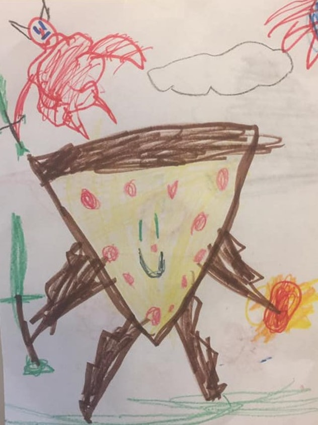 Child's drawing of a slice of pizza styled as a warrior.