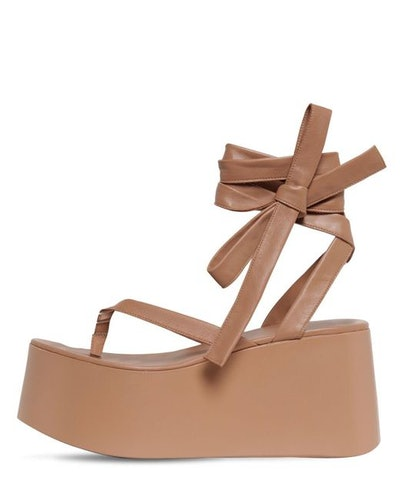 80MM Leather Thong Wedge Sandals