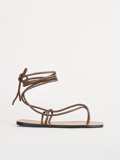 Alezio Khaki Brown Ankle Strap Sandals