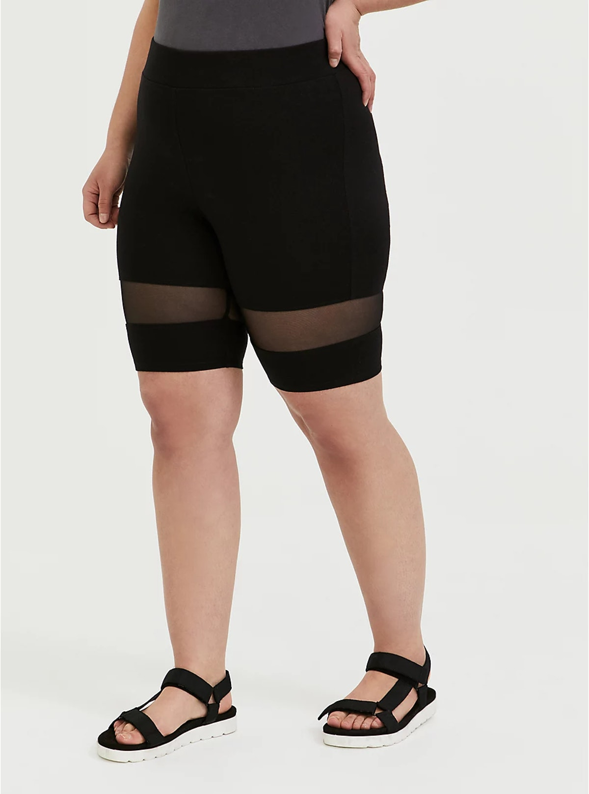 Torrid Black Mesh Insert Bike Shorts