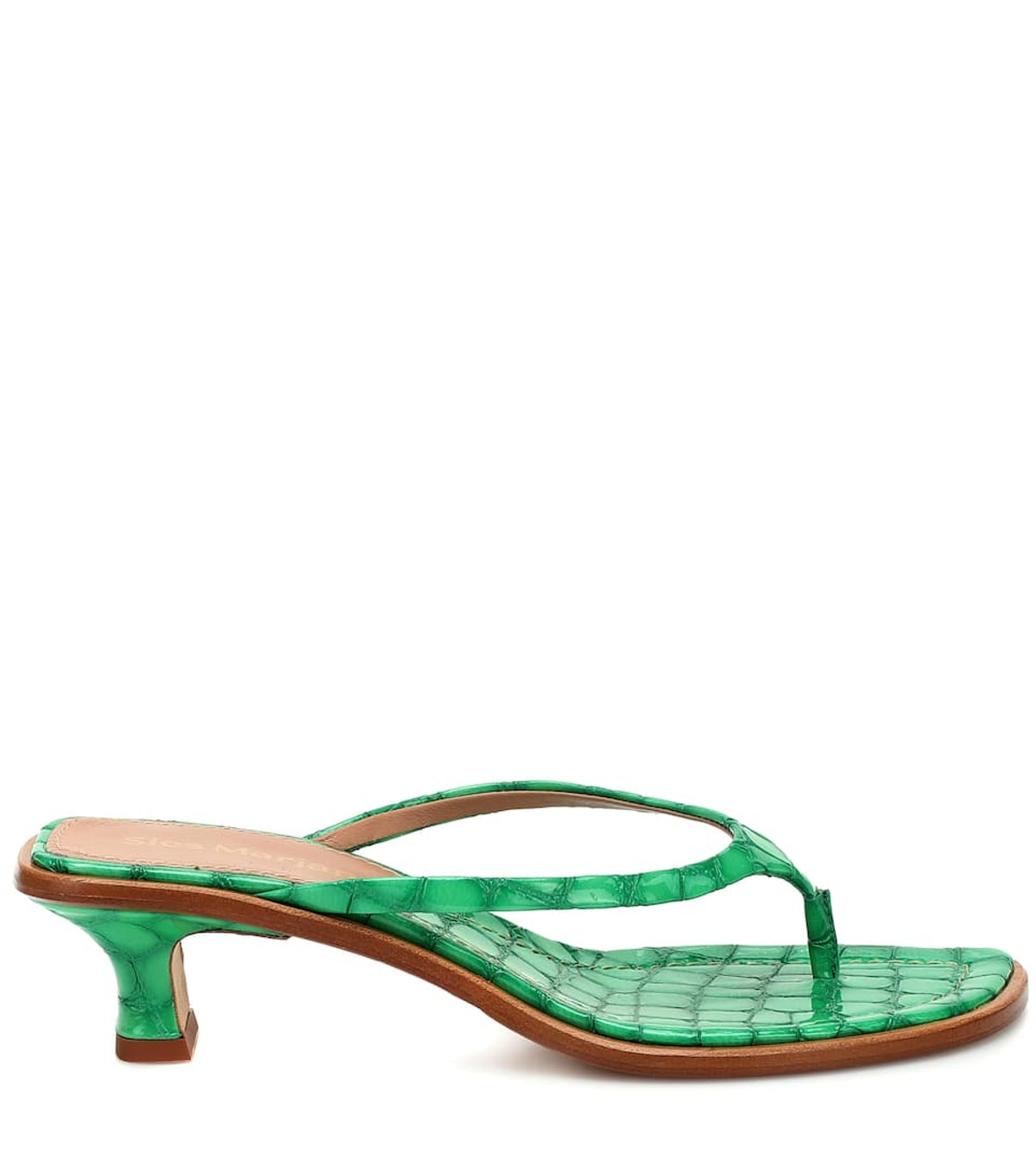 Sies Marjan Alix Thong Strap Patent Croc-Effect Heel