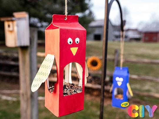 crayola milk carton bird feeder craft