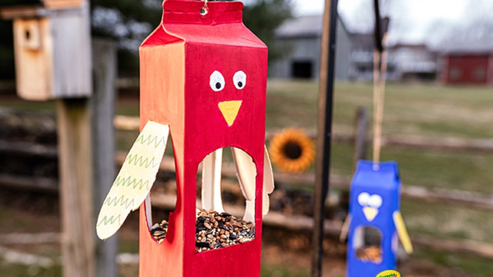 crayola milk carton bird feeder craft