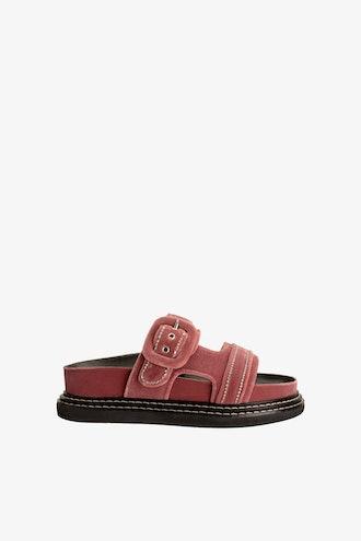 Buckled Velvet Low Heeled Sandals