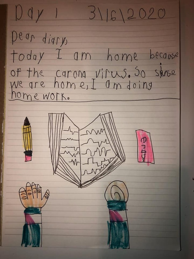 "A child's drawing of hands reaching for a book, a pencil and an eraser below the words ""Dear Diary, Today I am home because of the coronavirus. So since we are home I am doing homework."""