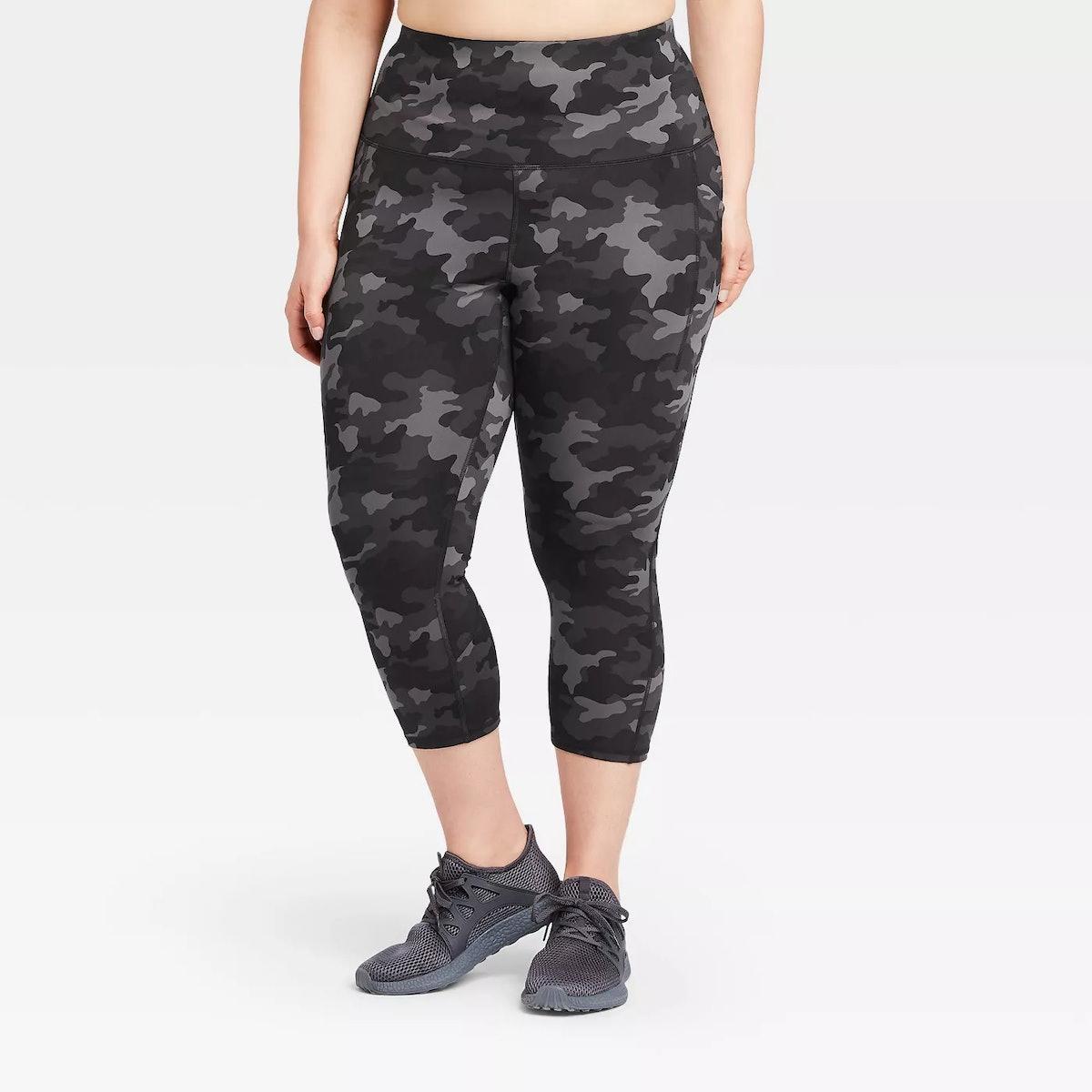 All In Motion Women's Plus Size Camo Print Sculpted High-Rise Capri Leggings
