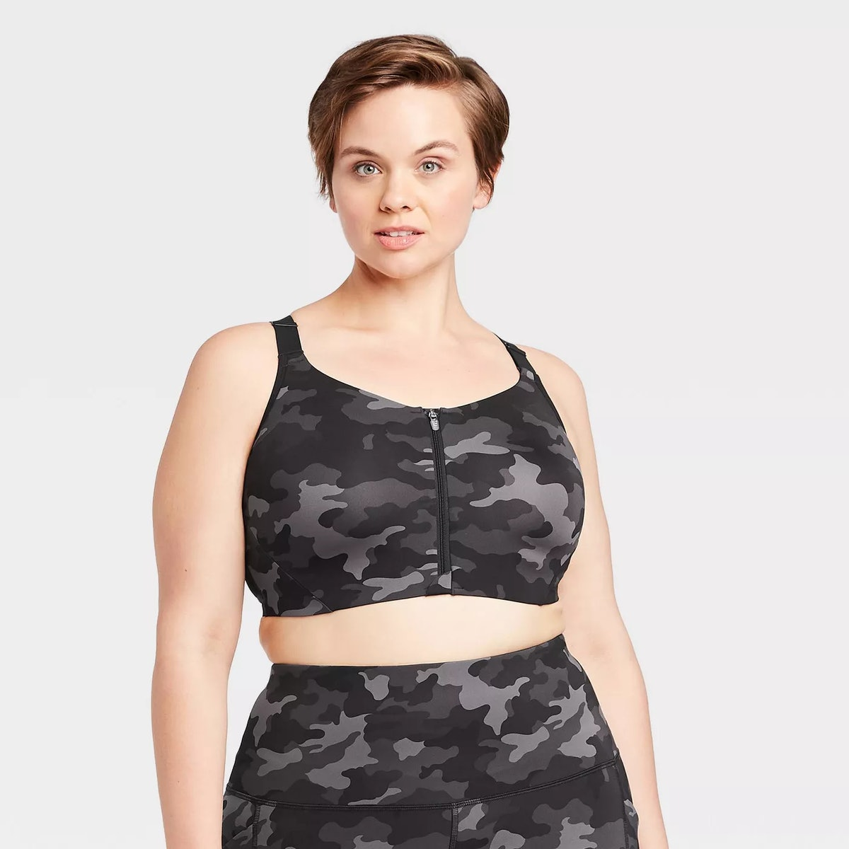 All In Motion Women's Plus Size Camo Print High Support Zip Front Bra