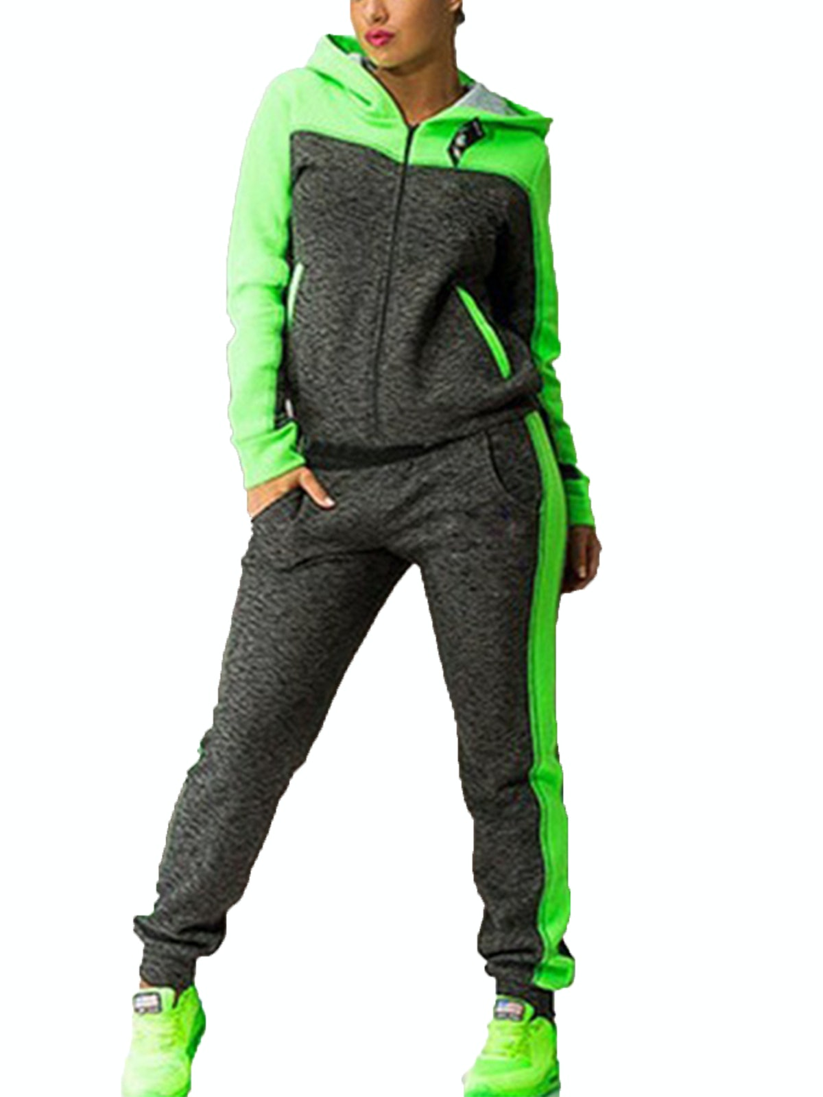 Wodstyle Women's 2PC Hoodie Zipper Sweatshirt And Pants Gym Tracksuit Sets