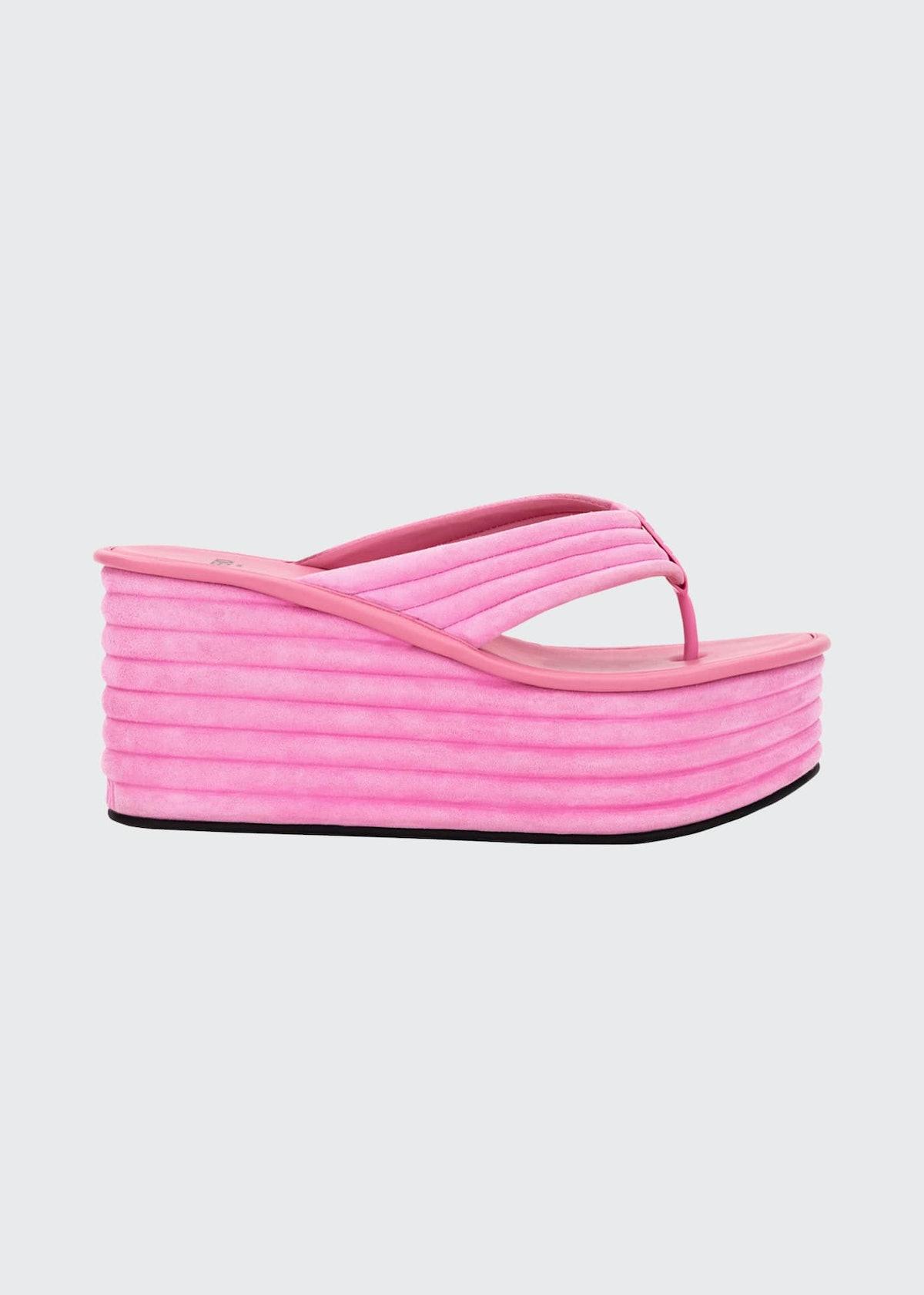 85MM Suede Platform Wedge Thong Sandals