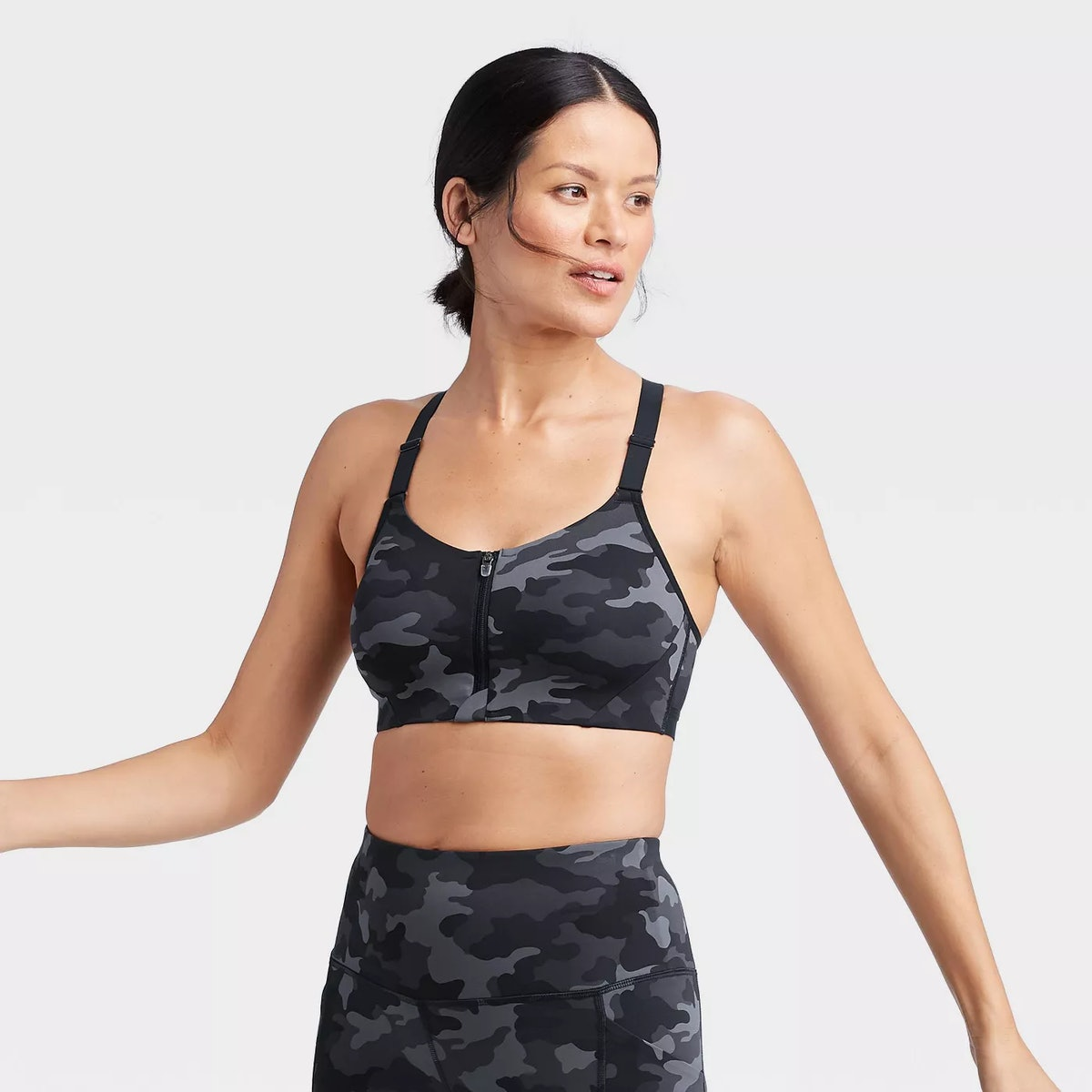 All In Motion Women's Camo Print High Support Zip Front Bra