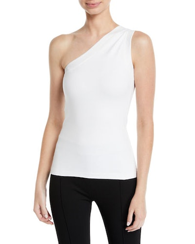 One-Shoulder Fitted Interlock Jersey Tank