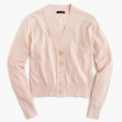 Baby Pink Cropped Lightweight Cardigan