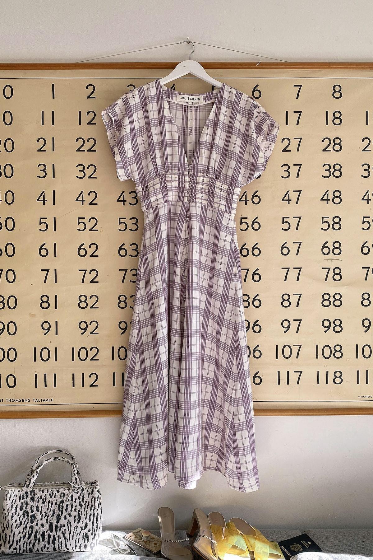 Olive Dress, Purple Plaid