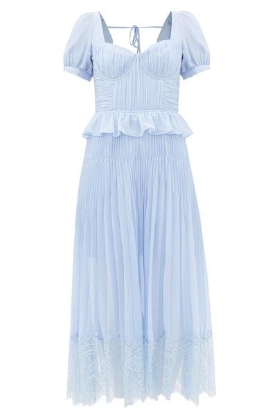 Self-Portrait Lace-Trimmed Pleated-Chiffon Midi Dress