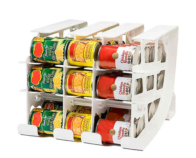 Canned food storage is key to pantry organization.