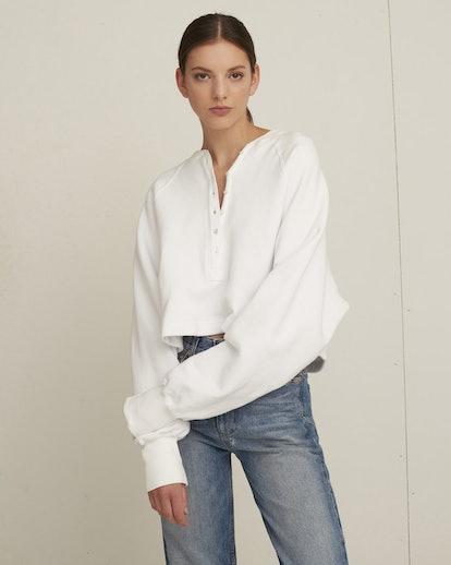 So Uptight Plunge Henley Loop Back Sweatshirt - White