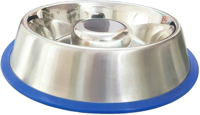 Mr. Peanut's Stainless Steel Interactive Slow Feed Dog Bowl