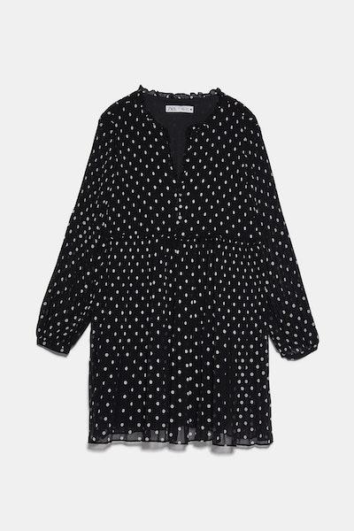Zara Pleated Dot Dress