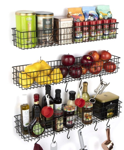 Use racks and hooks for pantry wall storage and organization.