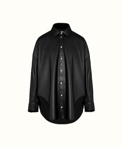 Faux Leather Oversized Shirt