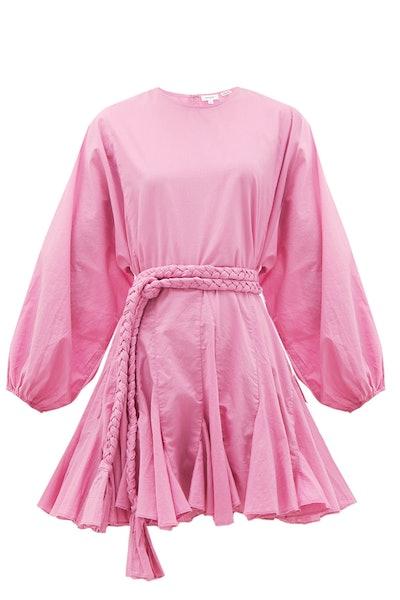Rhode Ella Fluted Cotton Mini Dress