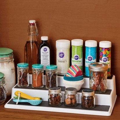 Shelf risers are a simple way to keep your pantry organized.