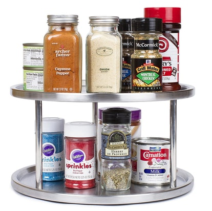 Organize spices with a lazy susan turntable in your pantry.