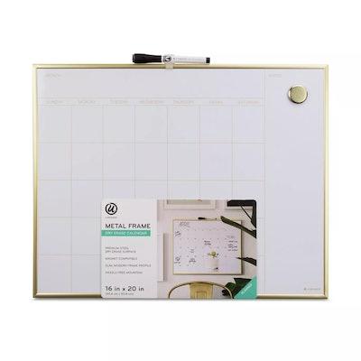 "Ubrands-20""x16"" Dry Erase Calendar Gold"