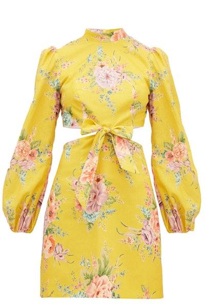 Zimmermann Zinnia Flora-Print Cut-Out Linen-Blend Mini Dress